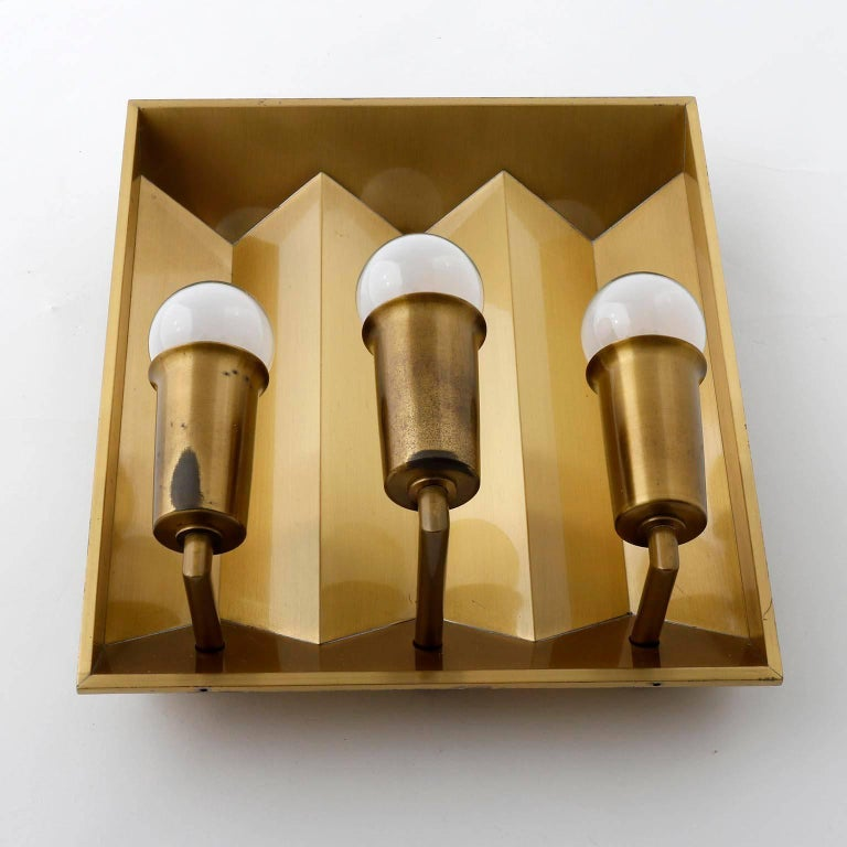 Mid-20th Century Pair of Brass Sconces Wall Lights by Fog & Morup, Denmark, 1960 For Sale