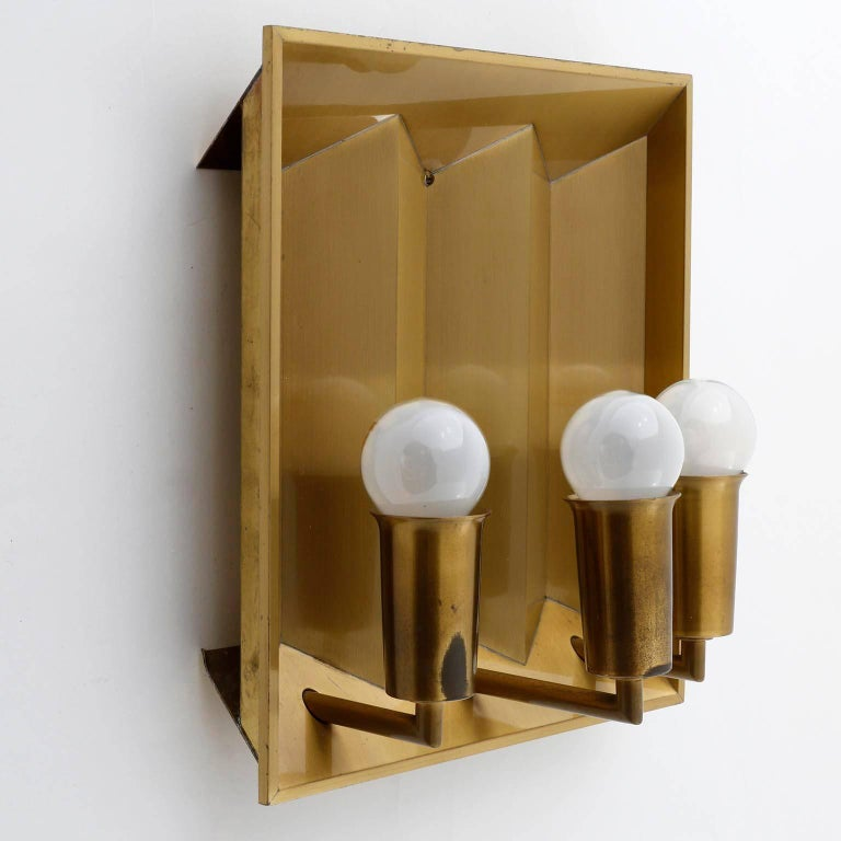 Pair of Brass Sconces Wall Lights by Fog & Morup, Denmark, 1960 For Sale 1