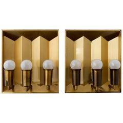 Pair of Brass Sconces Wall Lights by Fog & Morup, Denmark, 1960