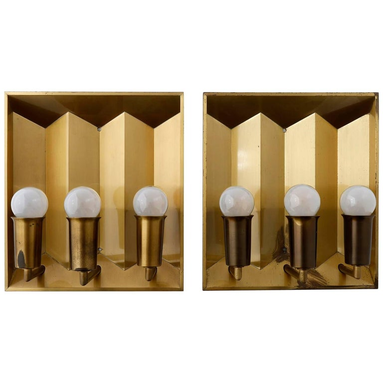 Pair of Brass Sconces Wall Lights by Fog & Morup, Denmark, 1960 For Sale