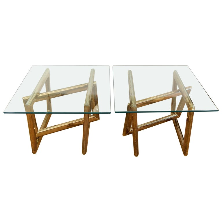 Pair of Brass Sculptural Side Tables with Glass Tops