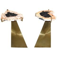 """Pair of Brass Sculptural """"Soleil"""" Art Side Tables"""