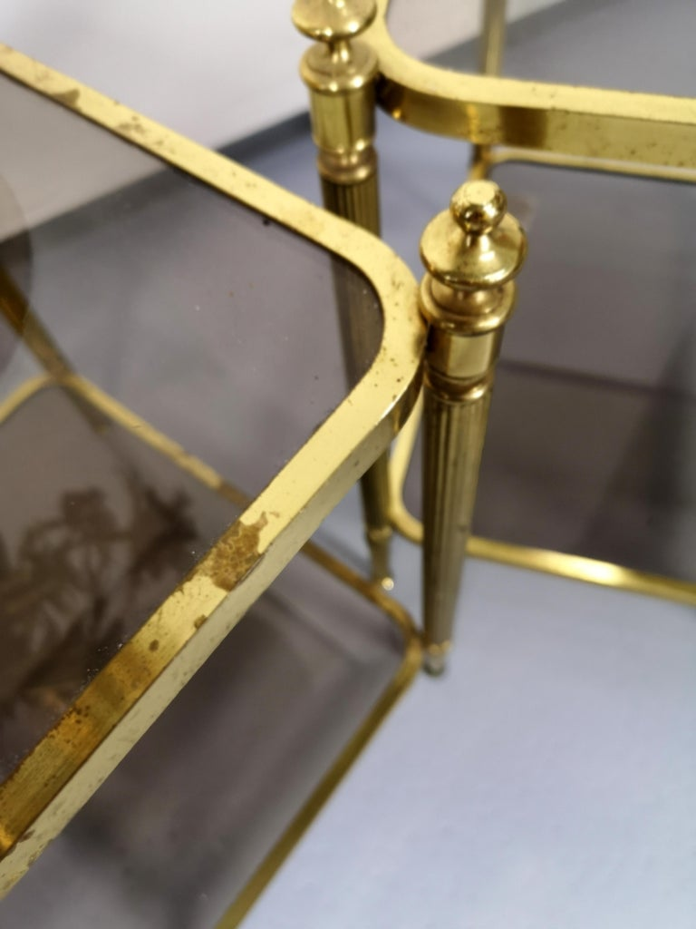 20th Century Pair of Brass Side Table with Smoke Glass Shelves, Empire Style, 1970s For Sale