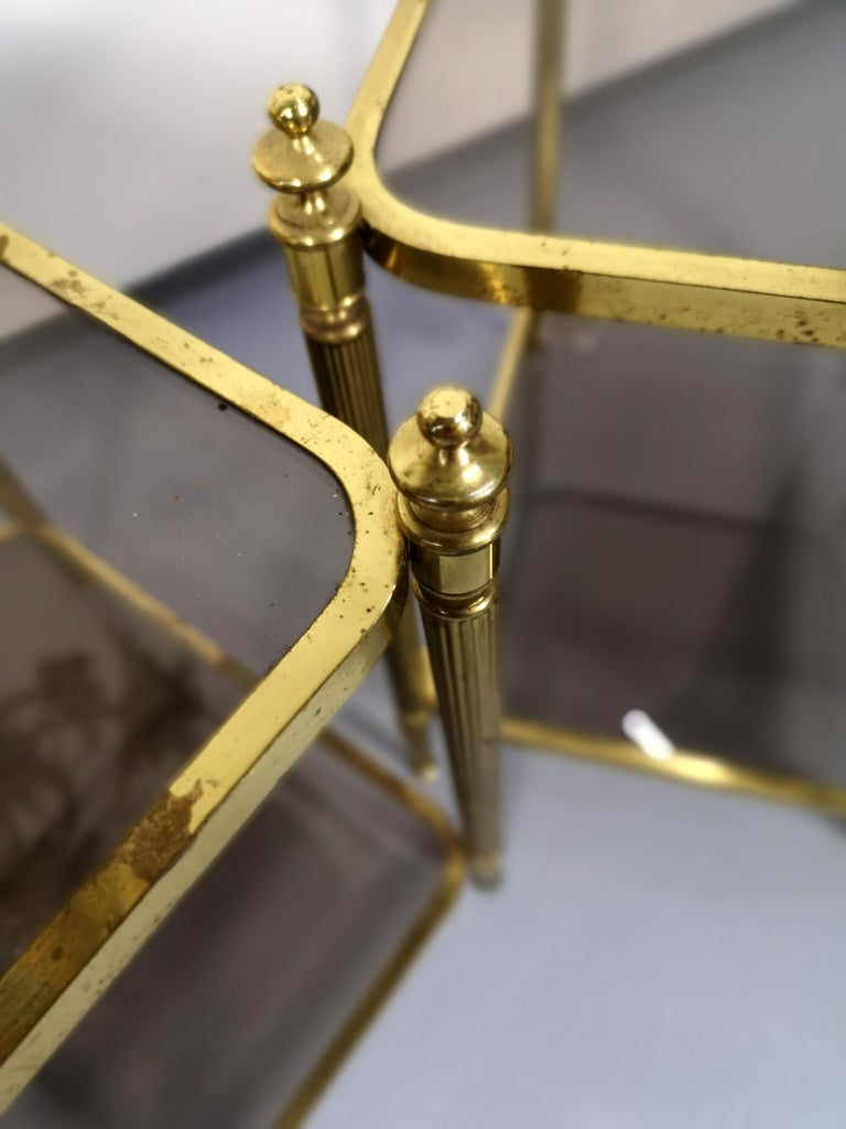 Smoked Glass Pair of Brass Side Table with Smoke Glass Shelves, Empire Style, 1970s For Sale