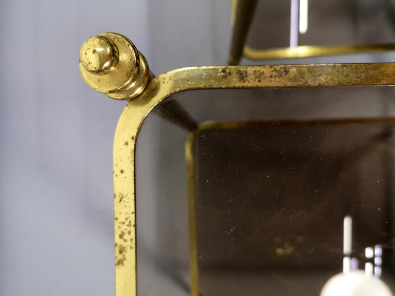 Pair of Brass Side Table with Smoke Glass Shelves, Empire Style, 1970s For Sale 2
