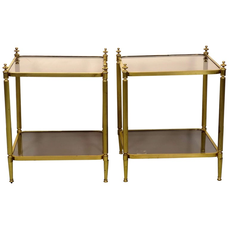 Pair of Brass Side Table with Smoke Glass Shelves, Empire Style, 1970s For Sale