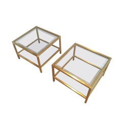 Pair of Brass Side Tables, French, circa 1960