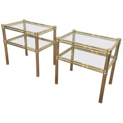 Pair of Brass Side Tables, French, circa 1970