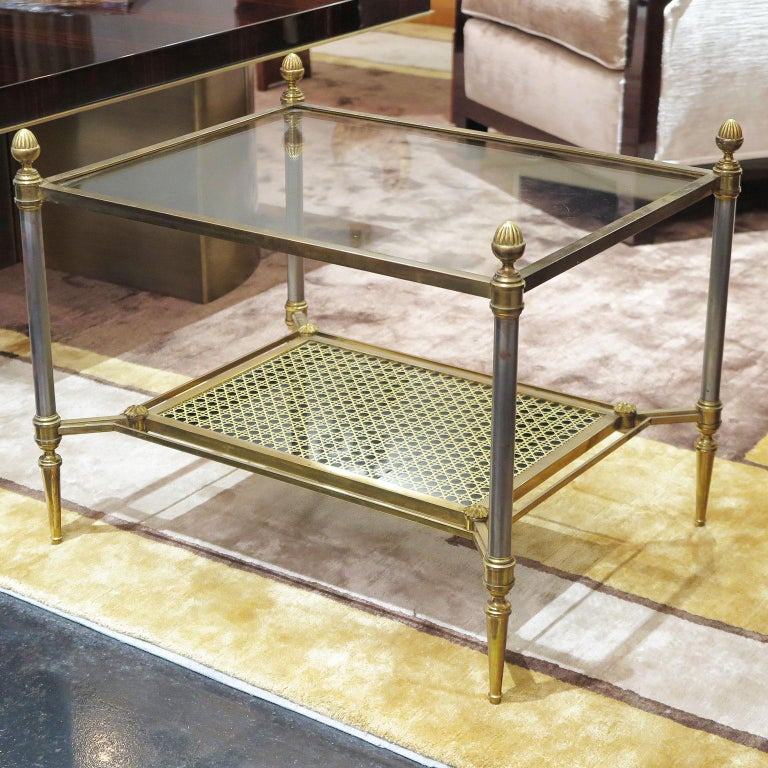 Brass Side Tables with Cane Motif and Glass Tops, Maison Jensen Attributed,  Pair