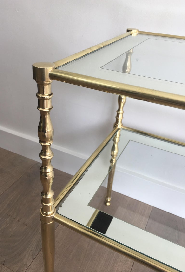 Pair of Brass Side Tables with Clear Glass Shelves Surrounded by Silvered Mirror For Sale 5
