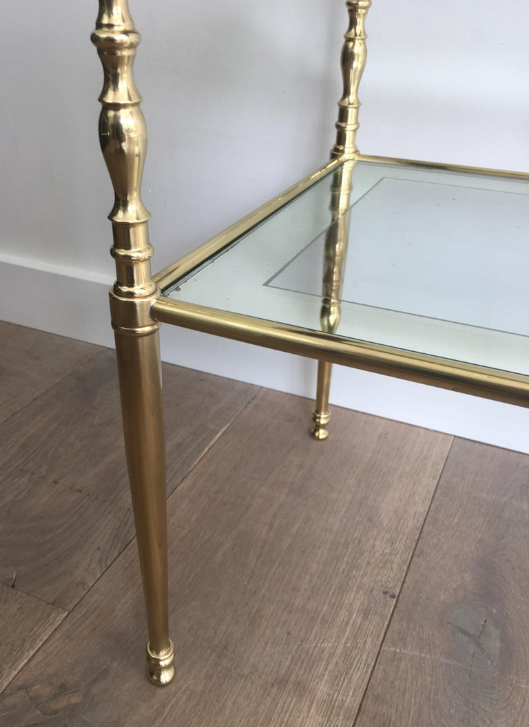 Pair of Brass Side Tables with Clear Glass Shelves Surrounded by Silvered Mirror For Sale 6