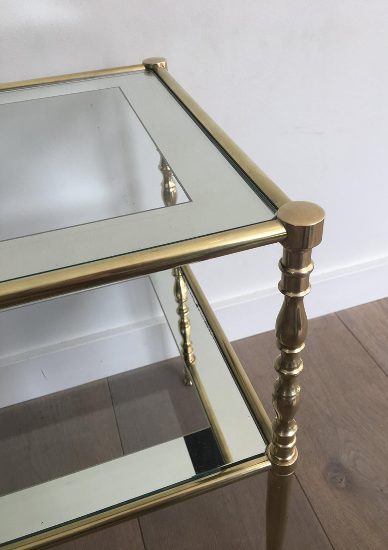Pair of Brass Side Tables with Clear Glass Shelves Surrounded by Silvered Mirror For Sale 7
