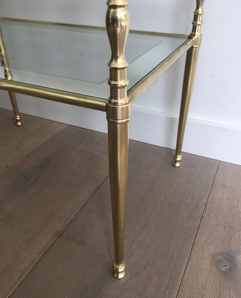 Pair of Brass Side Tables with Clear Glass Shelves Surrounded by Silvered Mirror For Sale 9