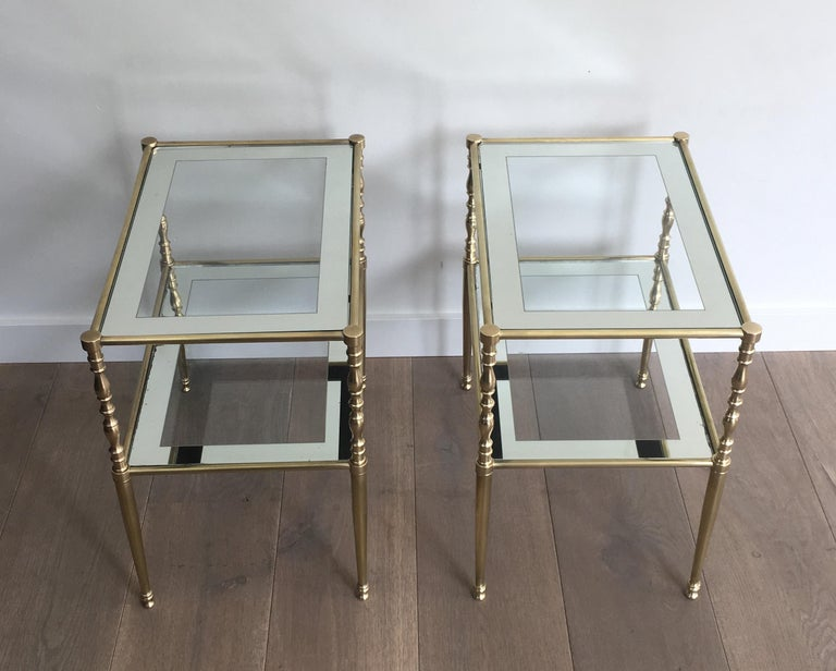 Pair of Brass Side Tables with Clear Glass Shelves Surrounded by Silvered Mirror For Sale 12