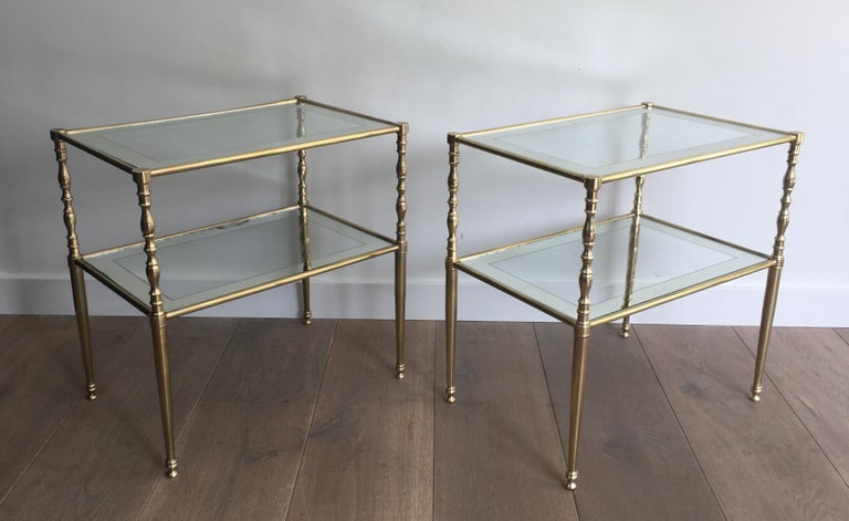 Pair of Brass Side Tables with Clear Glass Shelves Surrounded by Silvered Mirror For Sale 13