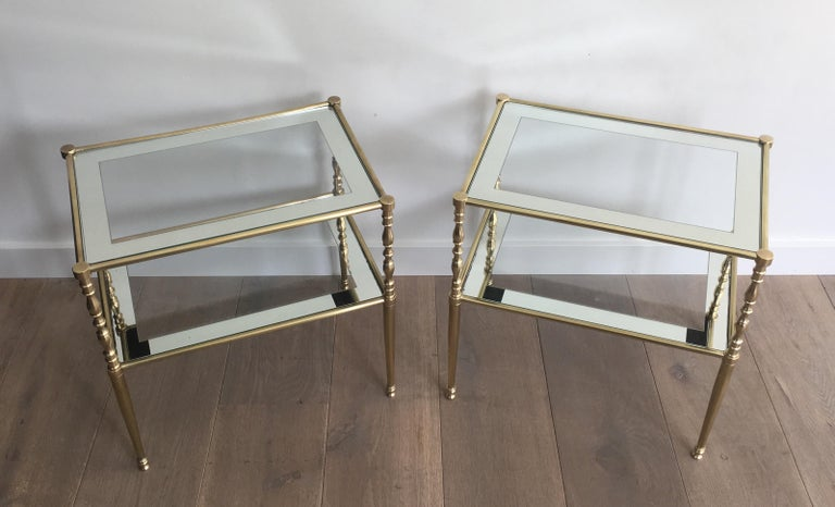 Pair of Brass Side Tables with Clear Glass Shelves Surrounded by Silvered Mirror For Sale 14