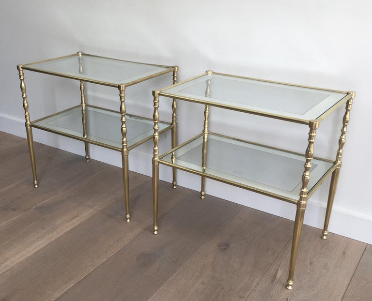 Late 20th Century Pair of Brass Side Tables with Clear Glass Shelves Surrounded by Silvered Mirror For Sale