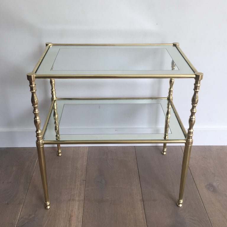 Pair of Brass Side Tables with Clear Glass Shelves Surrounded by Silvered Mirror For Sale 1