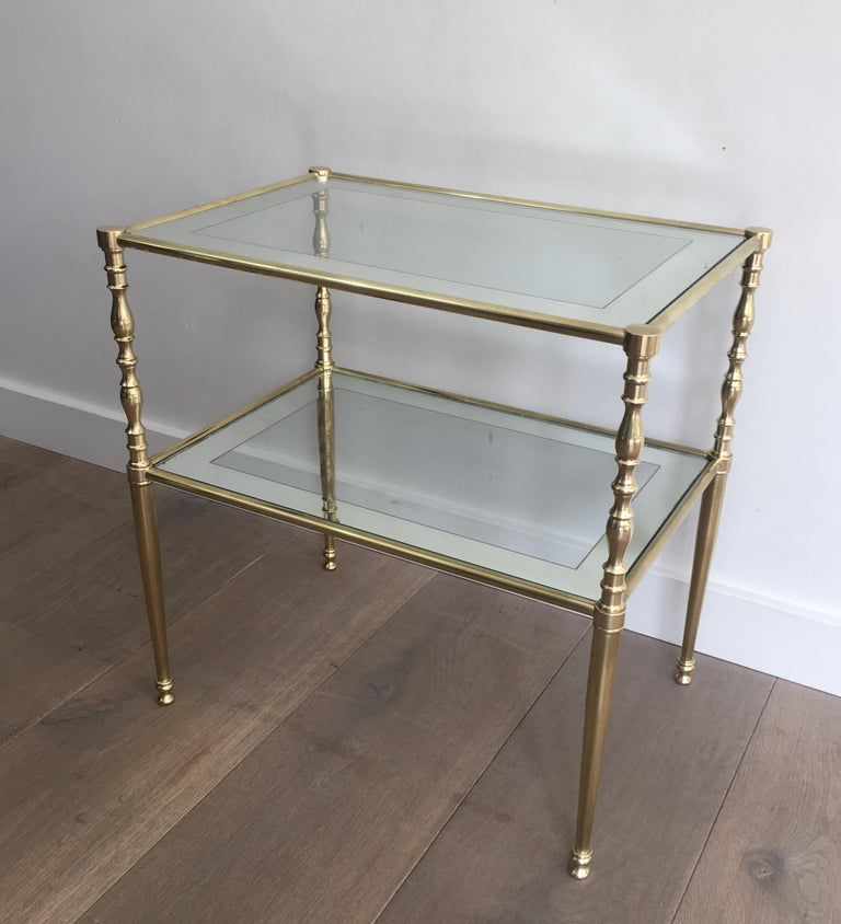 Pair of Brass Side Tables with Clear Glass Shelves Surrounded by Silvered Mirror For Sale 2