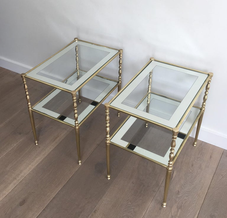 Pair of Brass Side Tables with Clear Glass Shelves Surrounded by Silvered Mirror For Sale 3