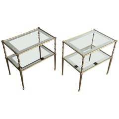 Pair of Brass Side Tables with Clear Glass Shelves Surrounded by Silvered Mirror