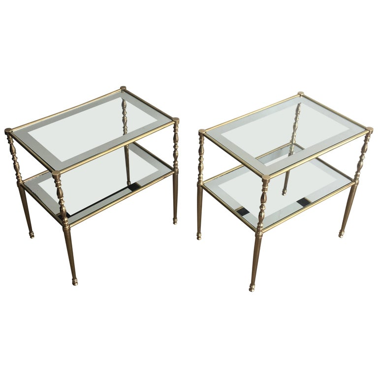 Pair of Brass Side Tables with Clear Glass Shelves Surrounded by Silvered Mirror For Sale