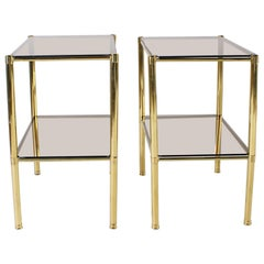 Pair of Brass Side Tables with Smoky Glass Tops, circa 1950