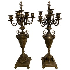 Pair of Brass Six-Arm Candelabras Bearing Figurative Faces and Fruits