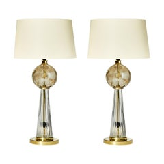 Pair of Brass Smokey and Golden Murano Glass Table Lamps
