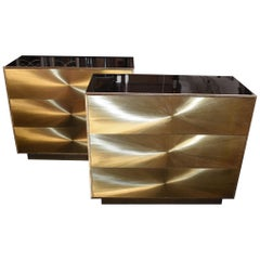 """Pair of Brass """"Soleil"""" Art Design Chests of Drawers"""
