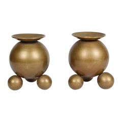 Pair of Brass Sphere Candle Holders by Gusums