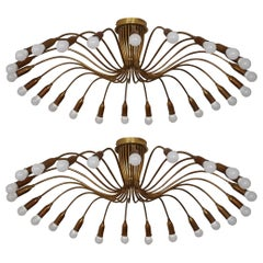 "Pair of Brass ""Spider"" Flush Mounts, Sputnik Chandeliers, Sarfatti, circa 1950s"