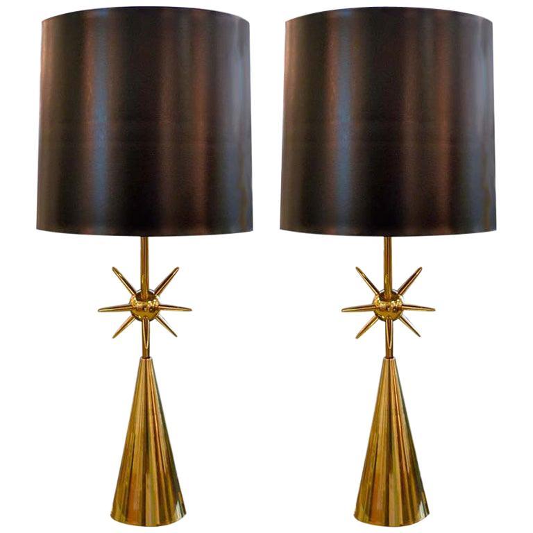 Pair of Brass Sputnik Table Lamps