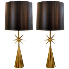 Pair of Brass Sputnik Table Lamps
