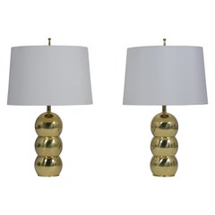 Pair of Brass Stacked Ball Table Lamps by George Kovacs