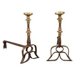 Pair of Brass & Steel Andirons, 16th Century