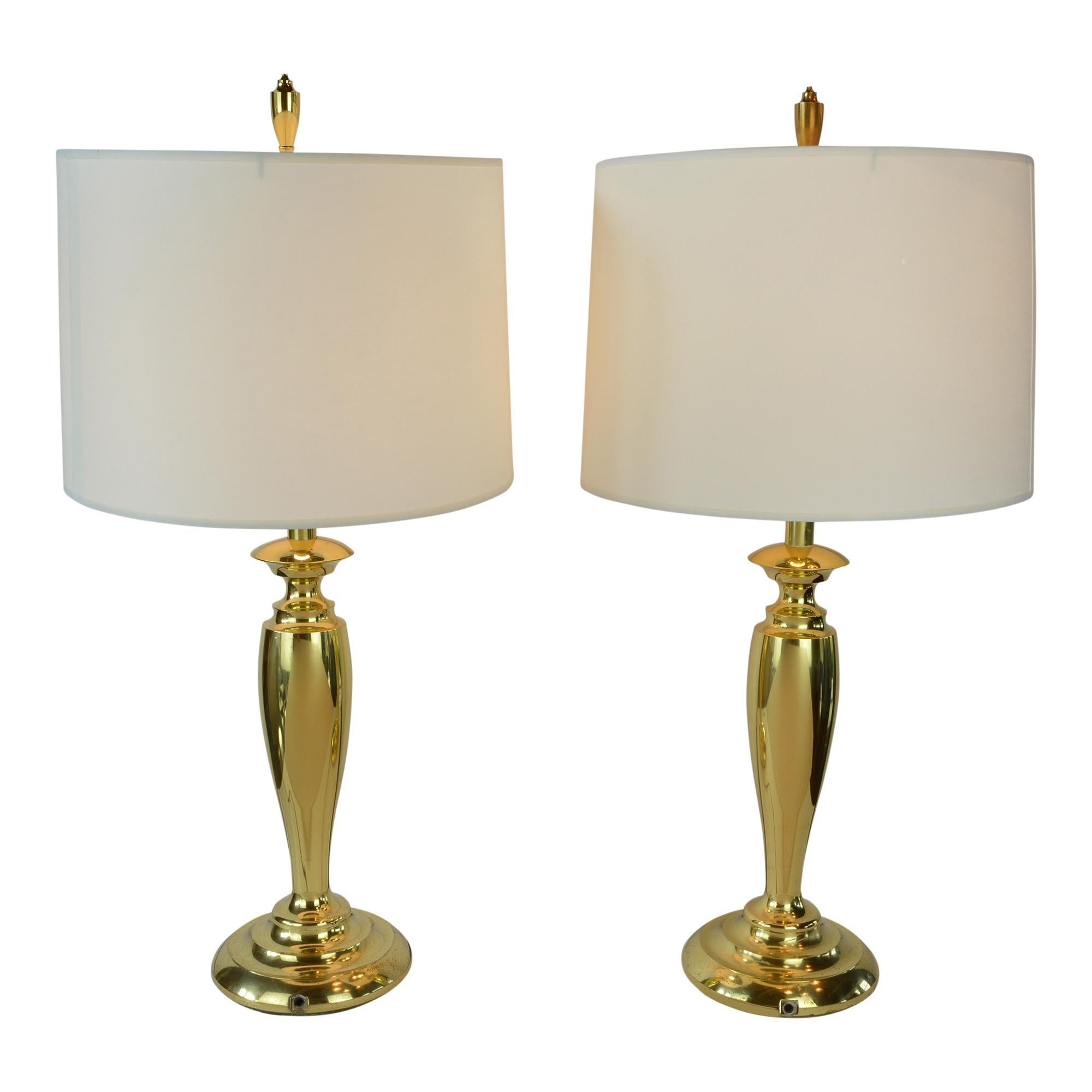 Pair of brass stiffel mid century modern table lamps with drum shades for sale at 1stdibs