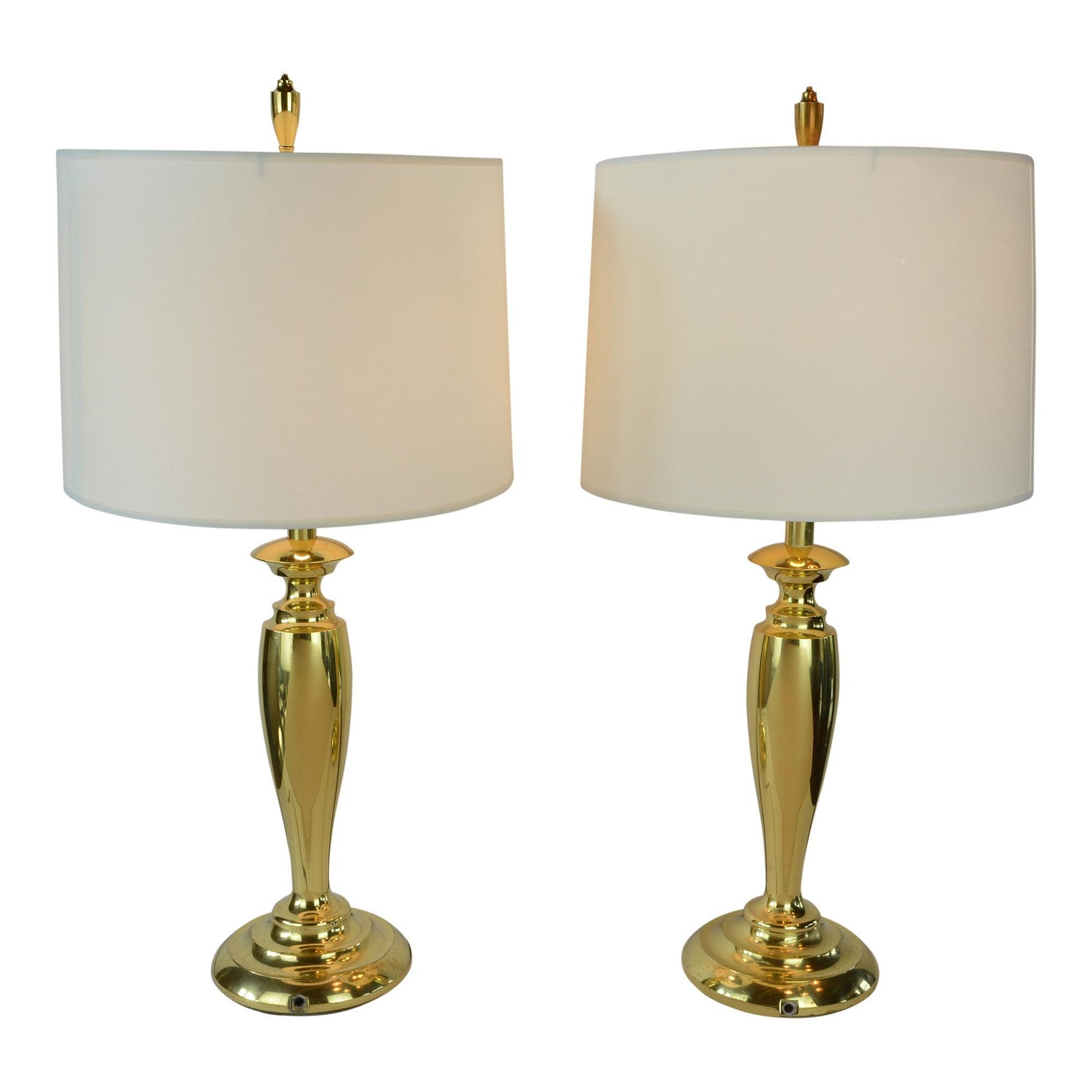Pair Of Br Stiffel Mid Century Modern Table Lamps With Drum Shades