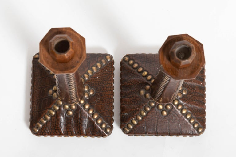 Pair of Brass-Studded Leather Arts & Crafts Candlesticks For Sale 4