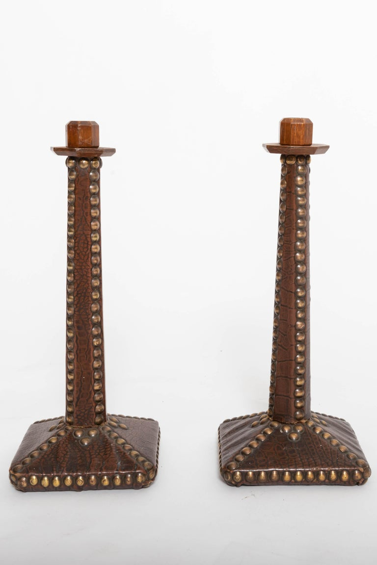 Georgian Pair of Brass-Studded Leather Arts & Crafts Candlesticks For Sale
