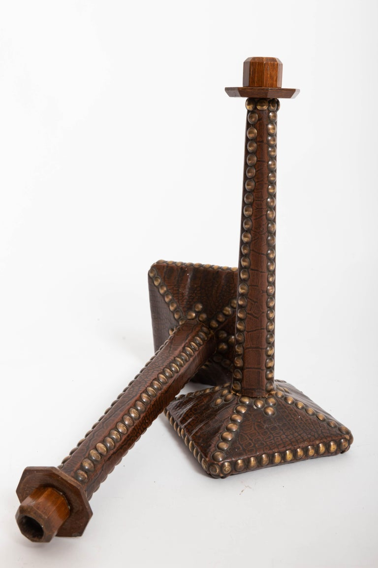 Pair of Brass-Studded Leather Arts & Crafts Candlesticks In Good Condition For Sale In East Hampton, NY
