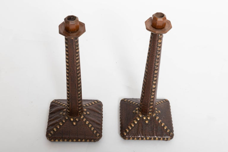 Pair of Brass-Studded Leather Arts & Crafts Candlesticks For Sale 1