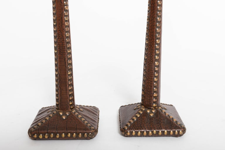 Pair of Brass-Studded Leather Arts & Crafts Candlesticks For Sale 3