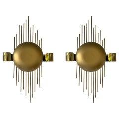 Pair of Brass Sun Sconces, Italy, 1970s