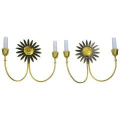 Pair of Brass Sunflower Motif Brass Wall Sconces