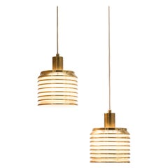 Pair of Brass T642 Pendant Lights by Hans-Agne Jakobsson, Sweden, 1960s