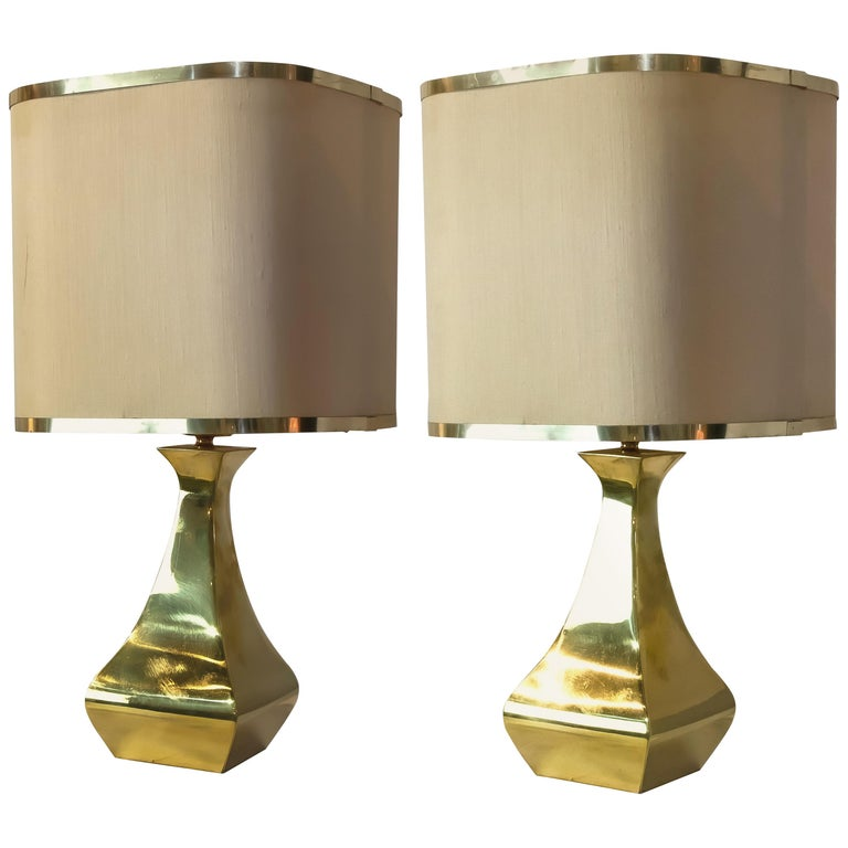 Pair of Brass Table Lamp by Tonello / Montagna Grillo, 1970s For Sale
