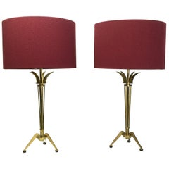 Pair of Brass Table Lamps Attributed to Maison Jansen, 1950s