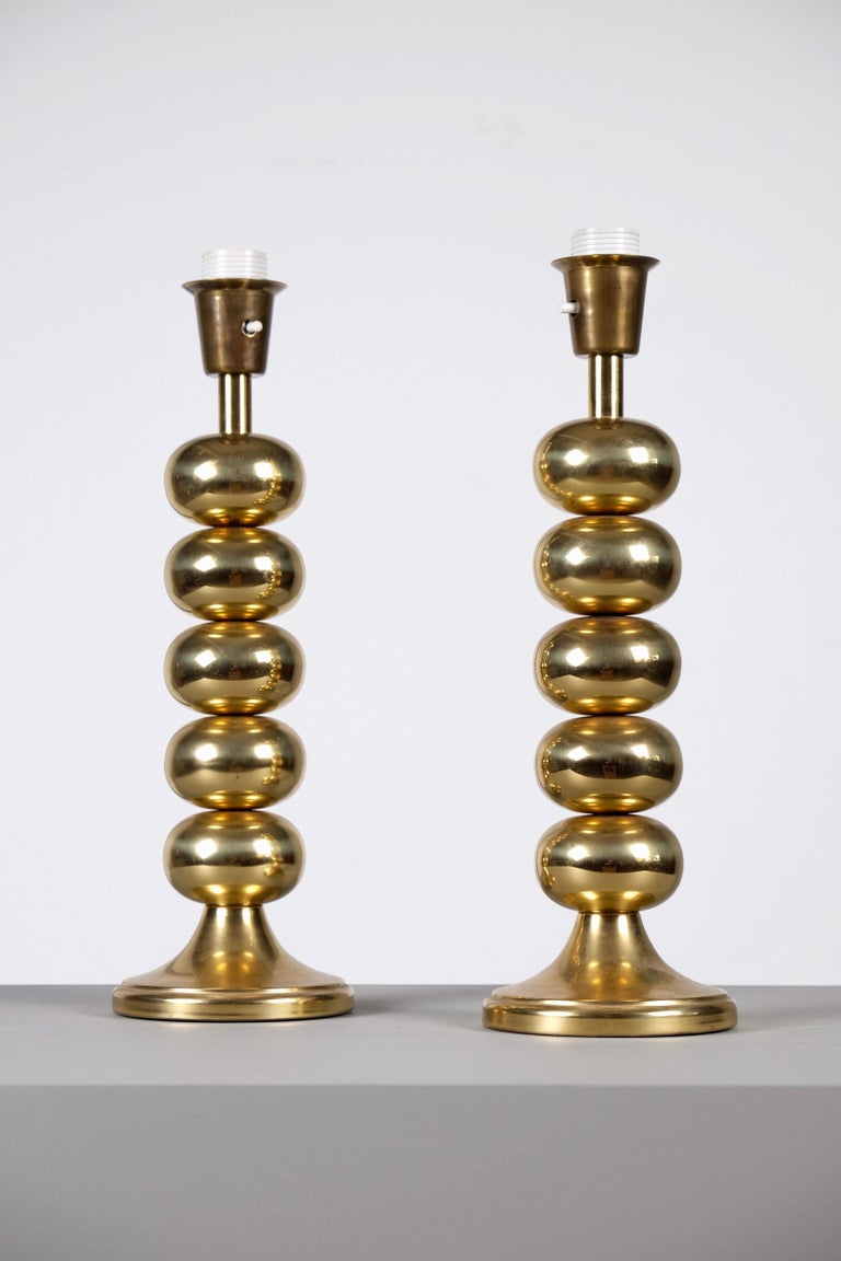 Scandinavian Modern Pair of Brass Table Lamps by Aneta, Sweden, 1970s For Sale