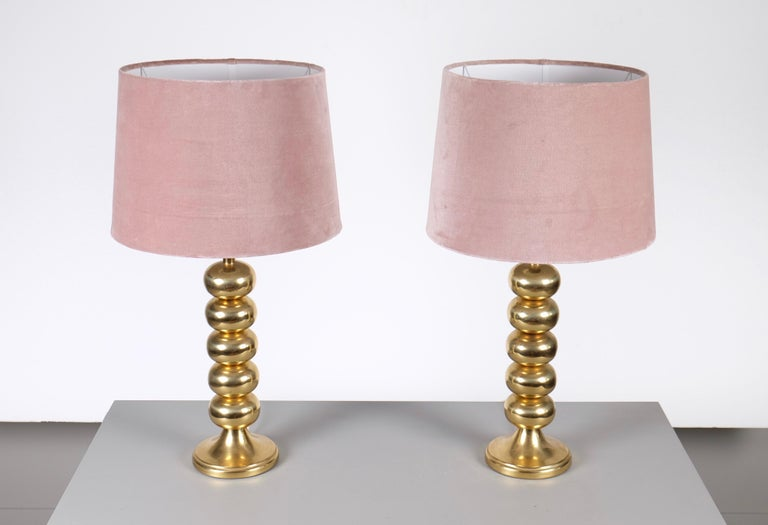 Swedish Pair of Brass Table Lamps by Aneta, Sweden, 1970s For Sale